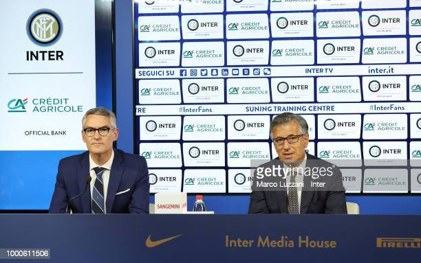 CEO of FC Internazionale Alessandro Antonello and Giampiero Maioli of Credit Agricole during a press conference at the club's training ground Suning...