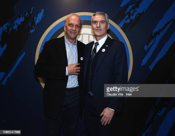 CEO of FC Internazionale Alessandro Antonello and Italian Minister of Education Marco Bussetti pose for a photo before the Serie A match between FC...