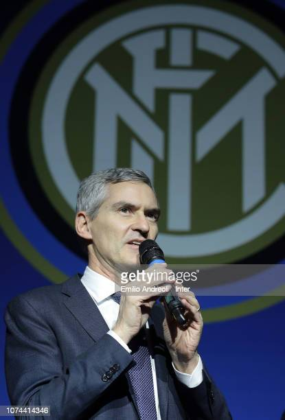 CEO of FC Internazionale Alessandro Antonello delivers a speach during the FC Internazionale Youth Teams Xmas Dinner at Mediolanum Forum on December...