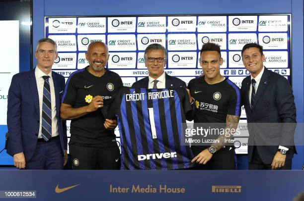 CEO of FC Internazionale Alessandro Antonello FC Internazionale coach Luciano Spalletti Giampiero Maioli of Credit Agricole Lautaro Martinez and Vice...
