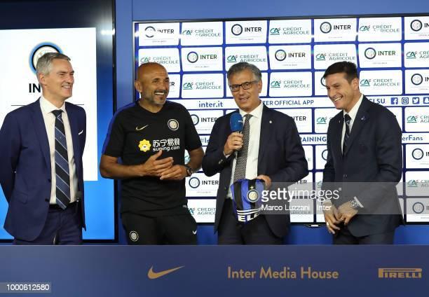 CEO of FC Internazionale Alessandro Antonello FC Internazionale coach Luciano Spalletti Giampiero Maioli of Credit Agricole and Vice President of FC...