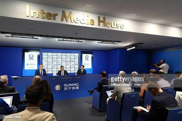 CEO of FC Internazionale Alessandro Antonello Giampiero Maioli of Credit Agricole and Vice President of FC Internazionale Javier Zanetti during a...