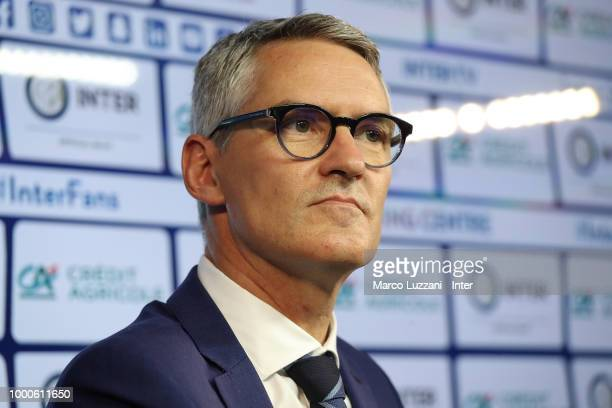 CEO of FC Internazionale Alessandro Antonello looks on during a press conference at the club's training ground Suning Training Center in memory of...
