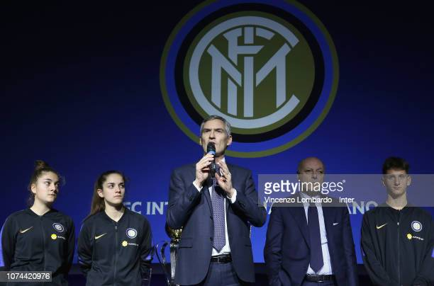 CEO of FC Internazionale Alessandro Antonello speach during the FC Internazionale Youth Teams Xmas Dinner at Mediolanum Forum on December 19 2018 in...