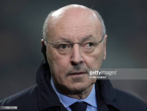 CEO of FC Internazionale Giuseppe Marotta looks on prior to the UEFA Europa League Round of 32 Second Leg match between FC Internazionale and SK...