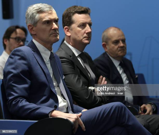 CEO of FC Internazionale Milano Alessandro Antonello attends the press conference at the Suning training center in memory of Angelo Moratti on May 24...