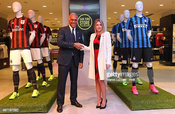 CEO of FC Internazionale Milano Michael Bolingbroke and CEO of AC Milan Barbara Berlusconi attend the unveiling of the new store at Giuseppe Meazza...