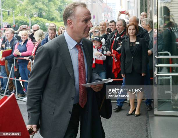 CEOof FCBayern Munich KarlHeinz Rummenigge arrives at the Regent Hotel in BerlinGermany 31 May 2013 THe DFBCup final between FCBayern Munich and...