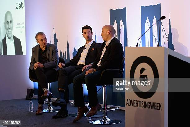 CEO of Fetch James Connelly and Founder and CEO Jetcom Marc Lore speak onstage at the Designing A Business For The New Consumer panel during...