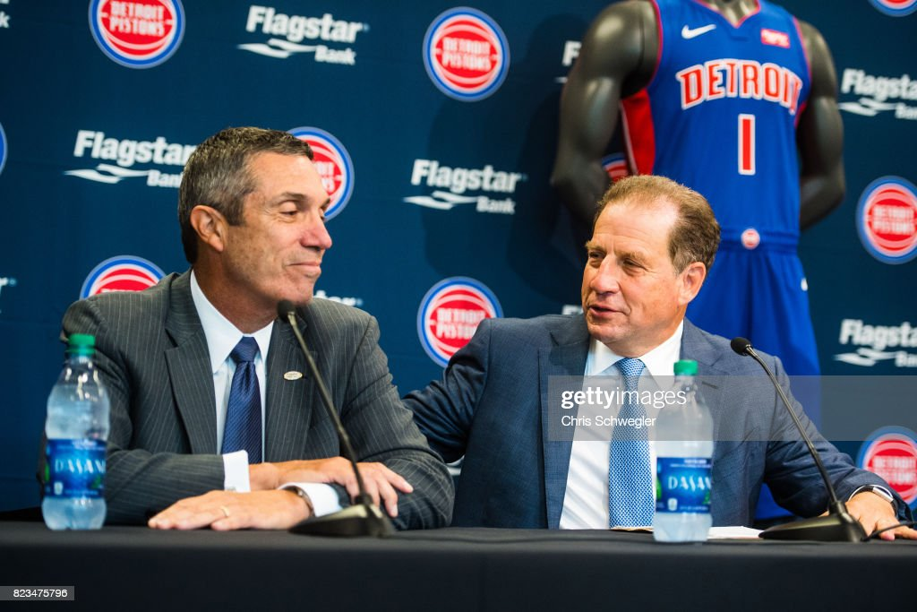 CEO of Flagstaff Bank, Alessandro P. DiNello and Vice Chairman of the Pistons and Palace Sports Entertainment, Arn Tellem, announce they will add Flagstar Bank as a sponsor on the left chest of the new uniforms on July 26, 2017 at the Nike Store in Detroit, Michigan.