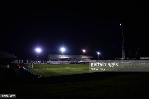 of Fleetwood Town and of Chorley in action during The Emirates FA Cup First Round match between Chorley and Fleetwood Town at Victory Park on...