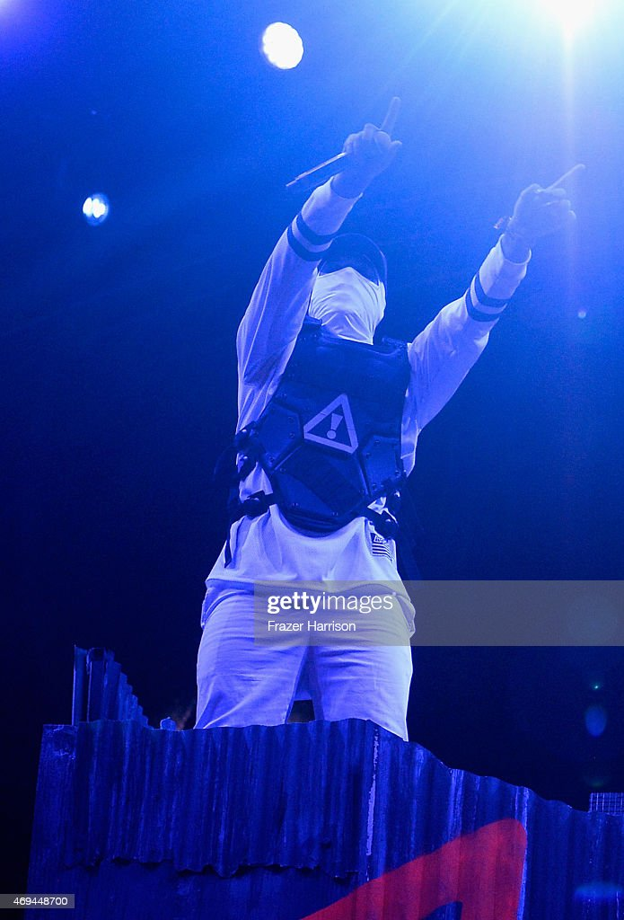 DJ J2K of Flosstradamus performs onstage during day 2 of the 2015 Coachella Valley Music & Arts Festival (Weekend 1) at the Empire Polo Club on April 11, 2015 in Indio, California.