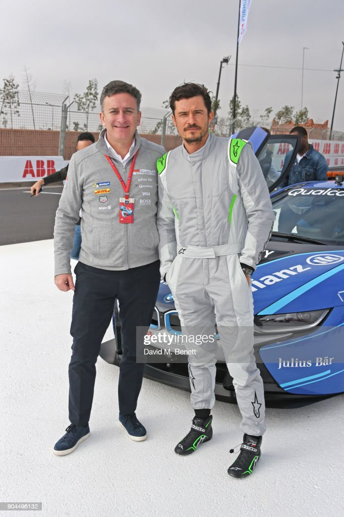 CEO of Formula E Alejandro Agag (L) and Orlando Bloom attend the ABB FIA Formula E Marrakech E-Prix on January 13, 2018 in Marrakech, Morocco.