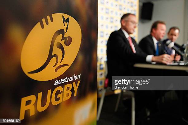 CEO of Fox Sports Australia Patrick Delany ARU CEO Bill Pulver and CEO Network Ten Paul Anderson speak during an ARU press conference at ARU...