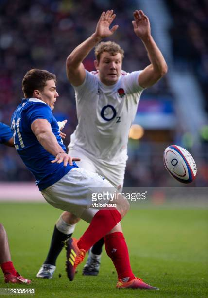 DUPONT of France and Joe Launchbury of England during the Guinness Six Nations match between England and France at Twickenham Stadium on February 10...