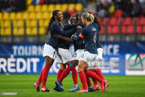 Of France celebrates his goal with team mates during the Tournoi de France, International Women's soccer match between France and Canada on March 4,...