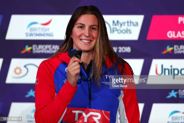 of France poses with her Gold medal in the Women's 200m Freestyle during the swimming on Day five of the European Championships Glasgow 2018 at...