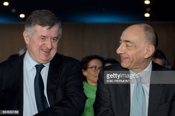CEO of French international airport operator ADP Group Augustin de Romanet talks with CEO of FrenchDutch airline holding company Air FranceKLM...