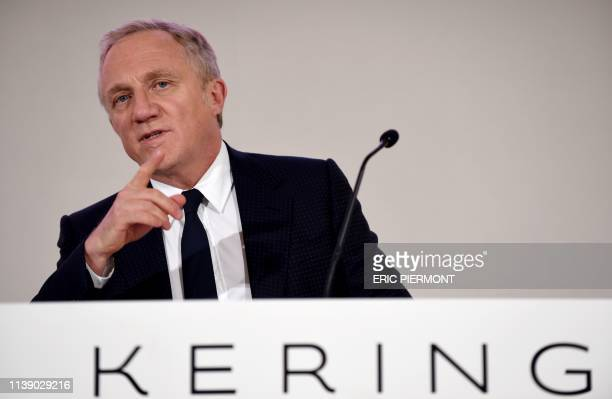 CEO of French luxury group Kering FrancoisHenri Pinault delivers a speech during the group's general meeting in Paris on April 24 2019