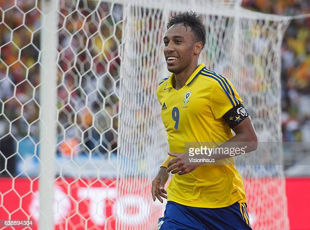 AUBAMEYANG of Gabon celebrates his goal during the Group A match between Gabon v GuineaBissau at Stade de L'Amitie on January 14 2017 in Libreville...