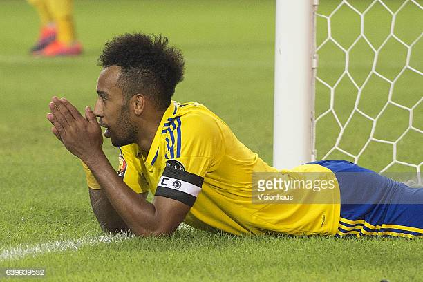 AUBAMEYANG of Gabon reacts to a missed chance during the Group A match between Cameroon and Gabon at Stade de L'Amitie on January 22 2017 in...