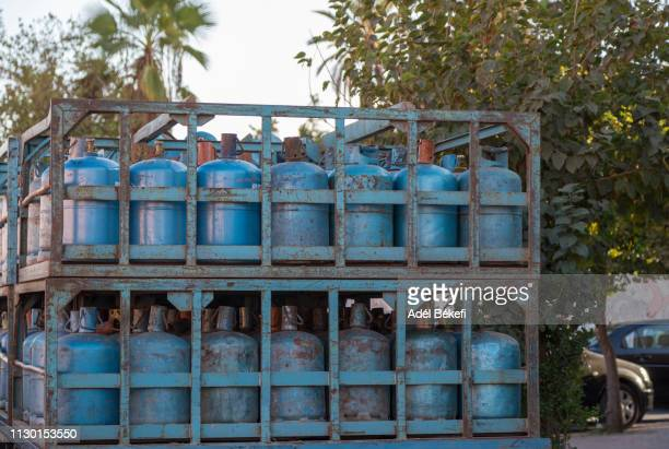of gas cylinders in truck - butane stock pictures, royalty-free photos & images