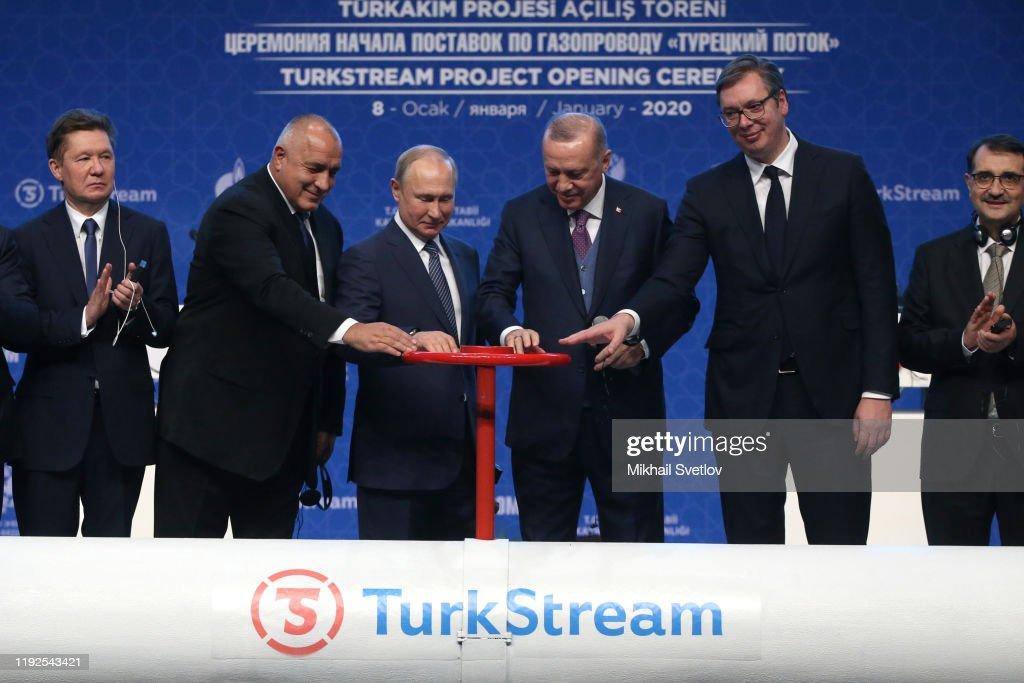 Russian President Vladimir Putin and Turkish President Recep Tayyip Erdogan open the TurkStream : News Photo