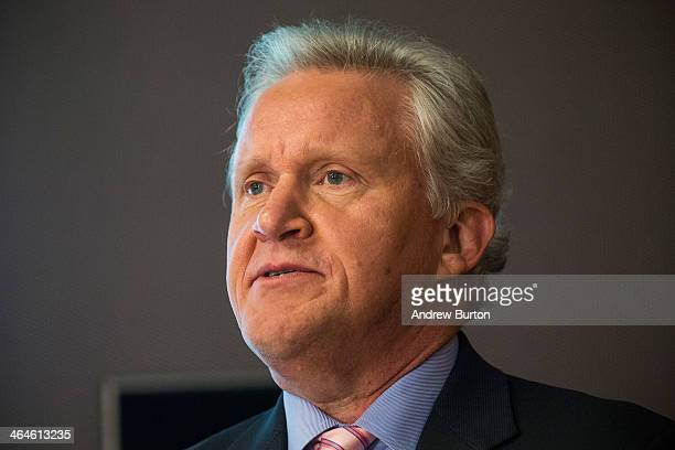 CEO of General Electric Jeffrey Immelt speaks at a press conference announcing the 16 winners of the first round of the $20M Head Health Challenge a...