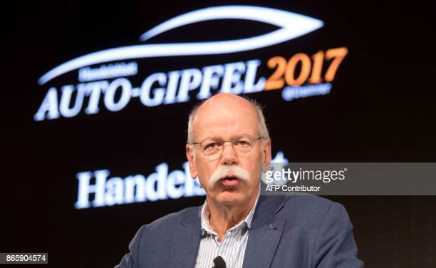 CEO of German car maker Daimler and head of MercedesBenz cars Dieter Zetsche talks during the Auto Summit 2017 at the MercedesBenz museum in...