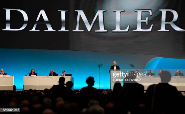 CEO of German carmaker Daimler and MercedesBenz Dieter Zetsche delivers a speech at the annual shareholders meeting in Berlin on March 29 2017 / AFP...