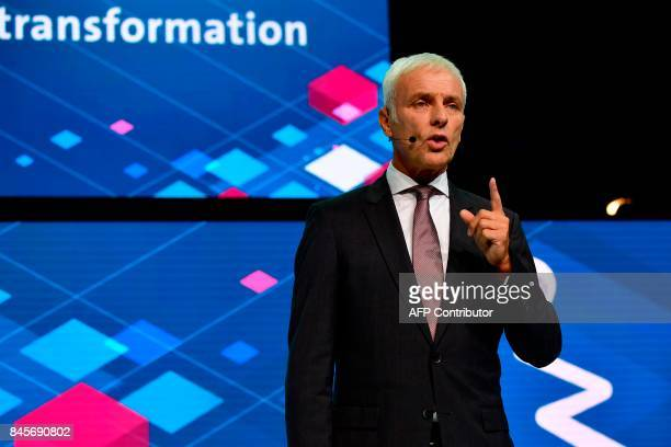 CEO of German carmaker Volkswagen Matthias Mueller delivers his speech during a Volkswagen preview night for the media on the eve of the opening of...
