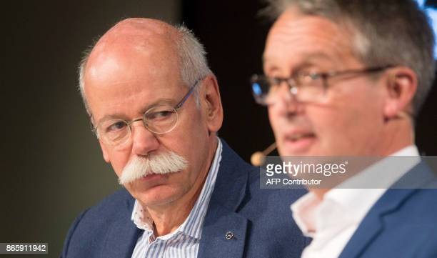 CEO of German Daimler AG and head of MercedesBenz cars Dieter Zetsche and Gabor Steingart publisher of German economy paper Handelsblatt discuss...