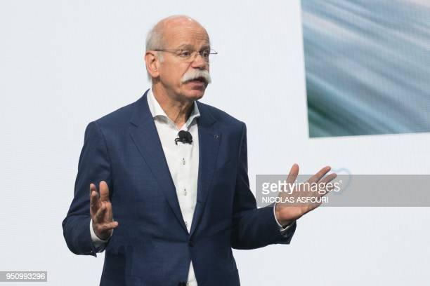 CEO of German luxury car manufacturer Daimler Dieter Zetsche speaks during a press conference at the Beijing Auto Show in Beijing on April 25 2018...
