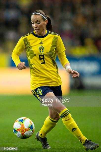 of Germany and of Sweden battle for possession during the Sweden v Germany Women's International Friendly match at Friends arena on April 06 2019 in...