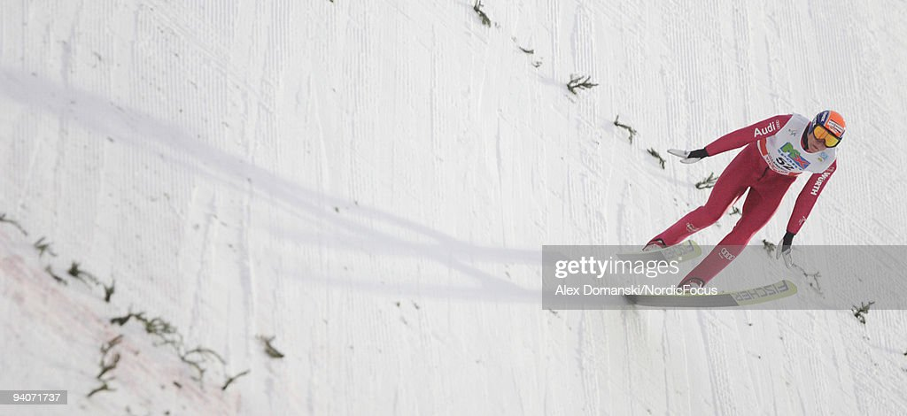 93902438 of Germany competes in the Gundersen Ski Jumping HS 138 event during day two of the FIS Nordic Combined World Cup on December 6, 2009 in Lillehammer, Norway.