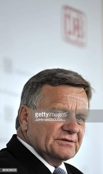 Of Germany's national railway company Deutsche Bahn Hartmut Mehdorn addresses journalists during a press conference at the company's headquarters in...