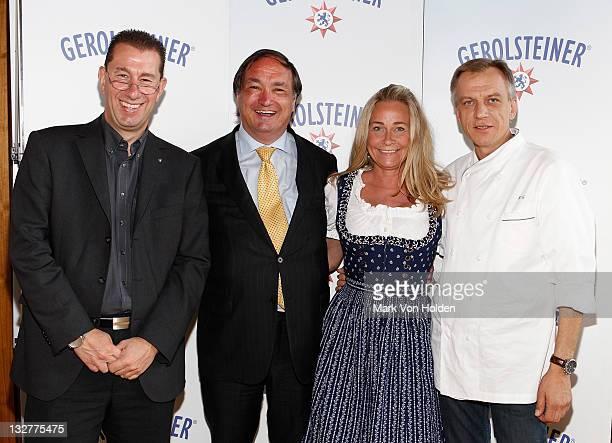 Of Gerolsteiner Axel Dahm, Austrian Consul General Peter Brezovsky, RTL's Sabine Anton and Chef Kurt Gutenbrunner attend the Gerolsteiner launch...