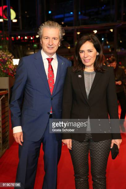 Of Glashuette Original Thomas Meier and his wife Graziella Meier attend the 'Damsel' premiere during the 68th Berlinale International Film Festival...