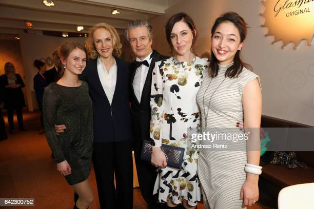 CEO of Glashuette Original Thomas Meier Kim Riedle and guests pose at the Golden Bear Lounge by Glashuette Original on February 10 2017 in Berlin...