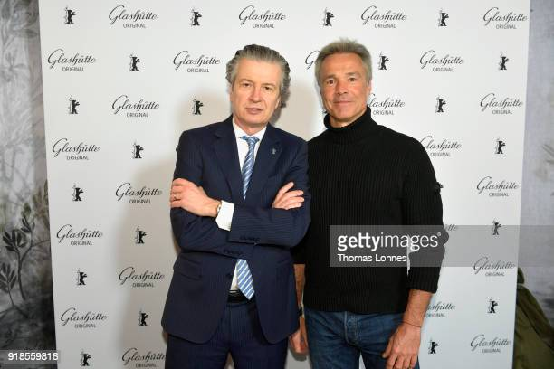 CEO of Glashuette Thomas Meier and actor Hannes Jaenicke attend the Glashuette Original Lounge at The 68th Berlinale International Film Festival at...