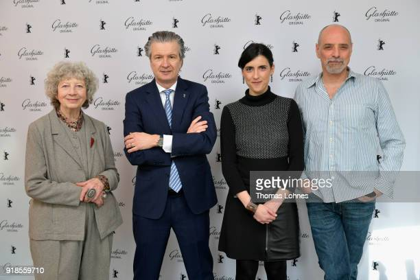 CEO of Glashuette Thomas Meier and Glashuette Documentary Award Jury members Ulrike Ottinger Eric Schlosser and Cintia Gil attend the Glashuette...