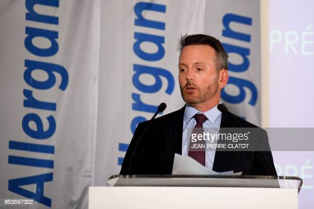 CEO of global pharamceutical company Allergan Brenton Saunders addresses employees at Allergan global production site on September 25 2017 in Pringy...
