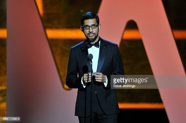 CEO of Google Inc Sundar Pichai speaks onstage during the 2016 Breakthrough Prize Ceremony on November 8 2015 in Mountain View California
