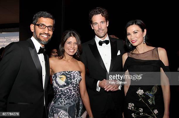 CEO of Google Sundar Pichai Anjali Pichai CBO of Google Philipp Schindler and Wendi Deng Murdoch attend the 2017 Breakthrough Prize at NASA Ames...