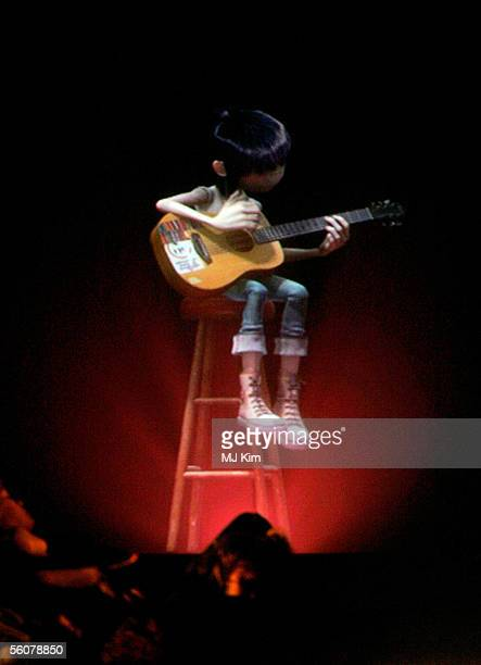 2D of Gorillaz performs on stage at the 12th annual MTV Europe Music Awards 2005 at the Atlantic Pavilion on November 3 2005 in Lisbon Portugal
