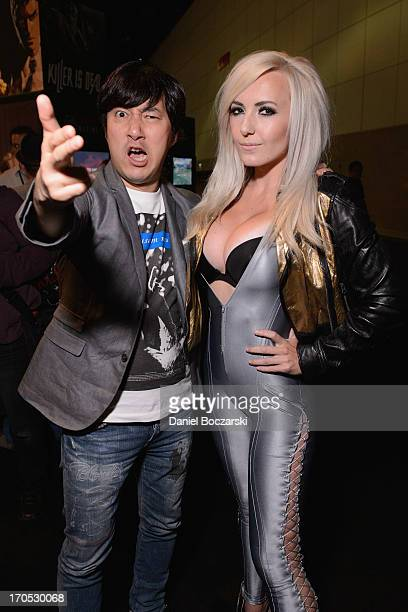 CEO of Grasshopper Manufacture Goichi Suda and cosplayer Jessica Nigri dressed as a character from the video game Killer is Dead attend 2013 E3...
