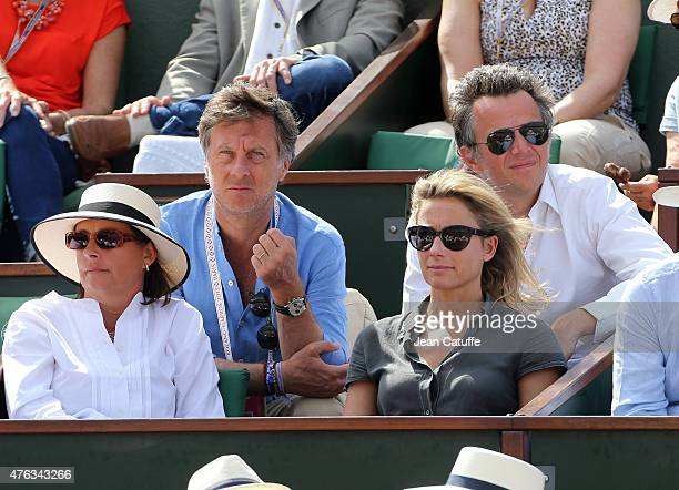 CEO of Group Accor AnneSophie Lapix and her husband Arthur Sadoun attend the men's final on day 15 of the French Open 2015 at Roland Garros stadium...