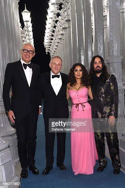 CEO of Gucci Marco Bizzarri businessman FrancoisHenri Pinault actress Salma Hayek wearing Gucci and Creative Director of Gucci Alessandro Michele...