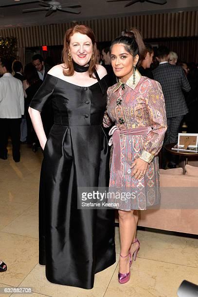 EIC of Harper's BAZAAR Glenda Bailey and Salma Hayek attend Harper's BAZAAR celebration of the 150 Most Fashionable Women presented by TUMI in...