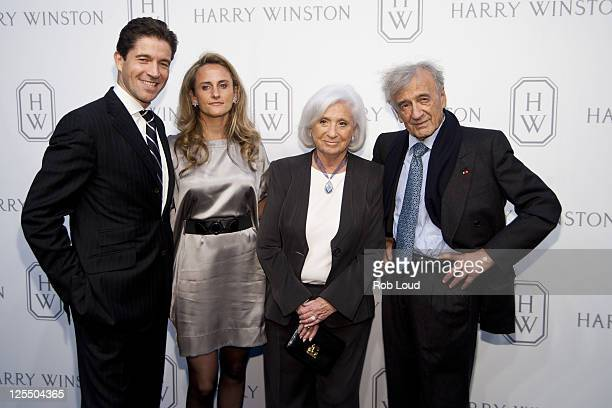 CEO of Harry Winston Frederic de Narp Anne Sophie de Narp Marion Wiesel and Elie Wiesel attend the launch of the Court of Jewels recreation at Harry...